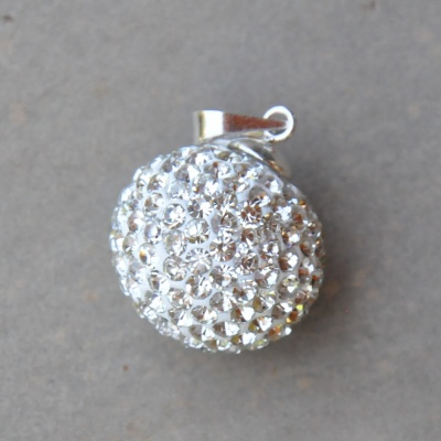 20mm Sterling silver and crystal ball pendant