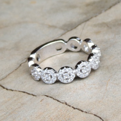 Thick Cubic Zirconia Eternity Ring