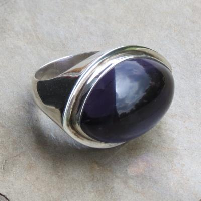 Modern Elliptical Amethyst Ring