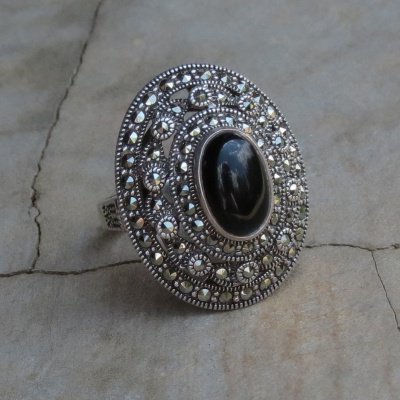 Marcasite with Black Onyx Ring