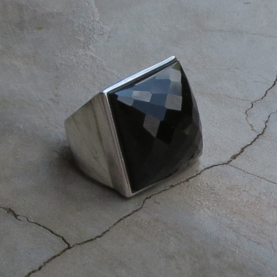 Square Faceted Black Onyx Ring