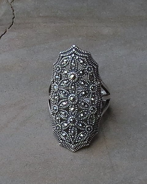 Long Sterling silver elliptical Marcasite ring x 3 R380 RISM001