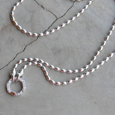 Long sterling silver beaded necklace with CZ detail (70cm) R1650 X 3 WNES021