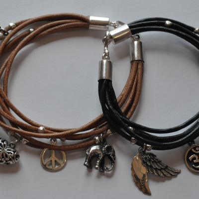 Multi leather bands and charms in Tan x 3(20cm) or Black(18 cm x 1 and 20cm x 2) R650 WBRS029
