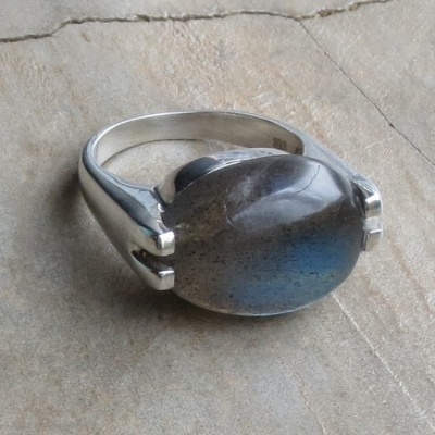 Oval Labradorite with Modern Setting Ring