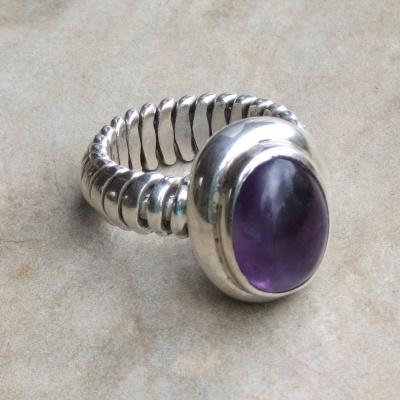 Oval Cabochon Amethyst Ring