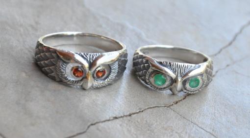 Owl ring with green X 4 WRIS019 or red X 3 WRIS020 gem eyes R468