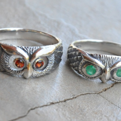 Green Eye Owl Ring
