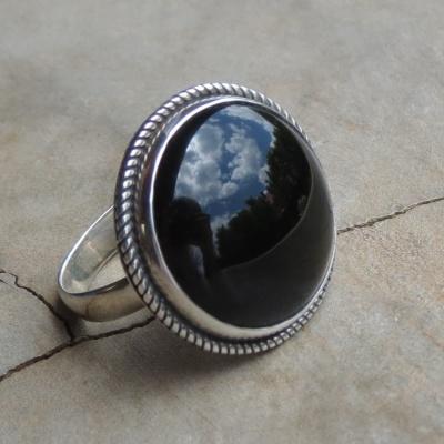 Round Black Onyx Ring