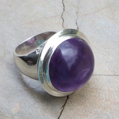 Round Modern Amethyst Ring