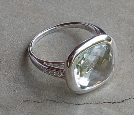 Square faceted Green Amethyst ring with CZ detail x 3 R40 RIGA002