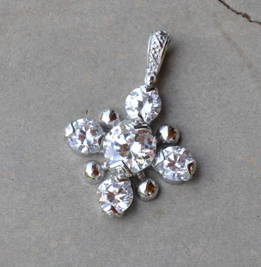 Sterling silver CZ large gem pendant R450 x 6 WPEG013