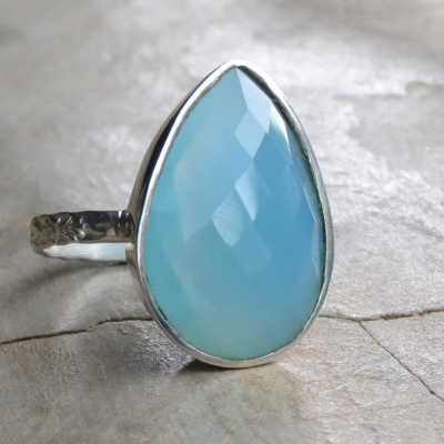 Tear Drop Chalcedony Ring