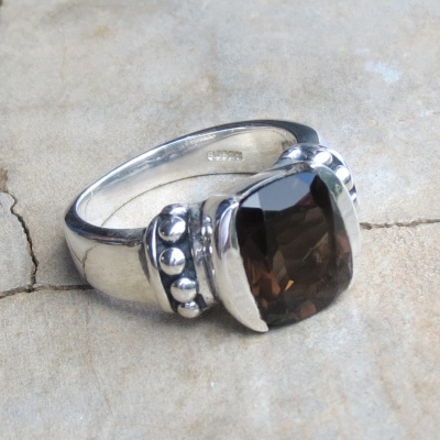 Square Smoky Quartz Ring