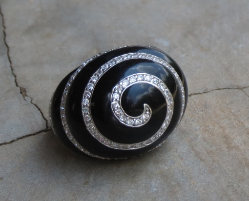 Sterling silver and Enamel spiral ring with CZ detail x 1 RIEN004 R750 #8