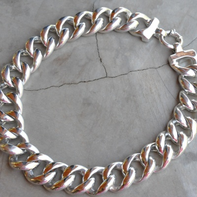 Sterling silver big braided necklace(40cm R3400) x 2 WNES030 or (45cm R3900) X 3 WNES029 diameter of link (2cm)