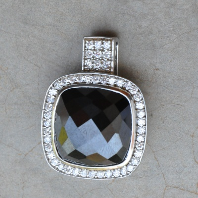 Sterling silver bulky Black onyx with CZ pendant R950 x 2 WPEG025