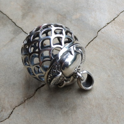 Silver Large Ornate Ball Pendant