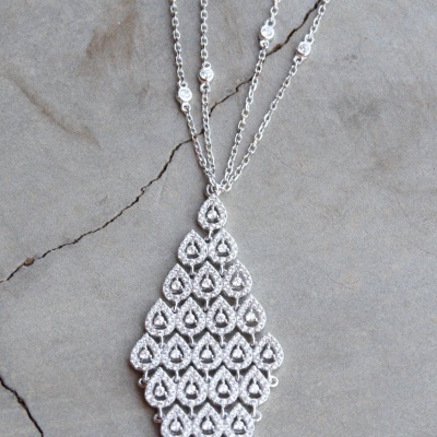 Sterling silver diamond shape CZ pendant necklace with double chain(55cm) R1250 X 2 WNES016