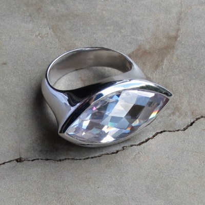 Elliptical Cubic Zirconia Ring