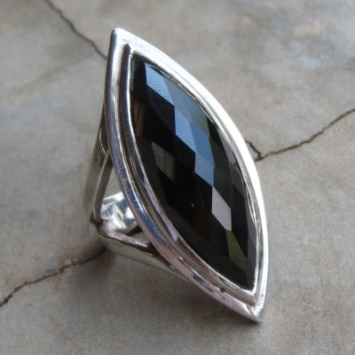 Elliptical Faceted Black Onyx Ring