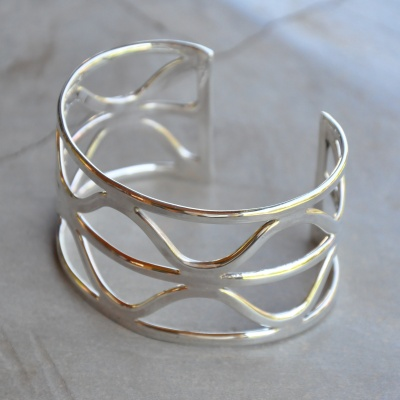 Sterling silver geometric pattern wide cuff bangle R1250 x 3 WBRS015