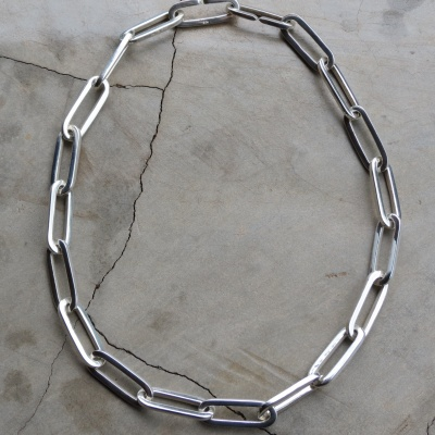 40 cm solid silver rectangular large link necklace 5948ae444506