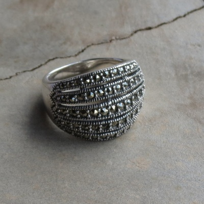 Multi Band Marcasite Dome Ring