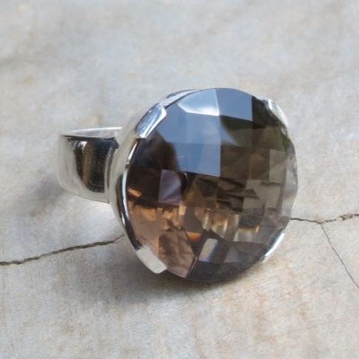 Round Faceted Smoky Quartz Ring