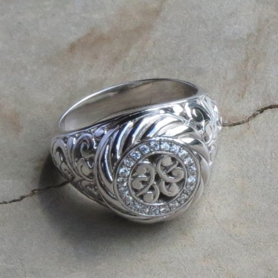 Round Ornate Cubic Zirconia Ring