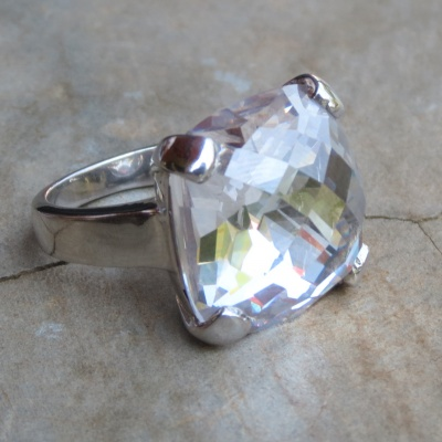 Square Faceted Cubic Zirconia Ring