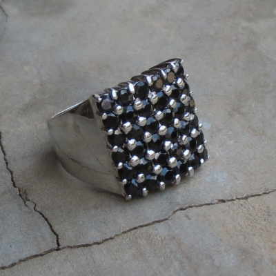 Square Multi Stone Black Onyx Ring