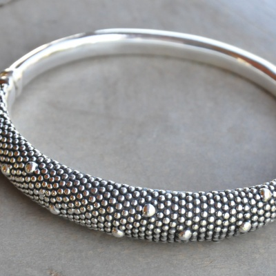 Sterling silver studded oxidized magnetic bangle R690 x 2 WBRS007