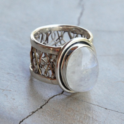 Detailed Band with Moonstone Ring