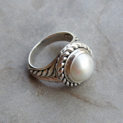 Pearl with Woven Setting Ring