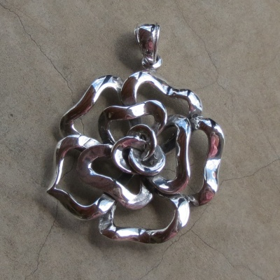 Sterling Silver Dainty Rose Pendant