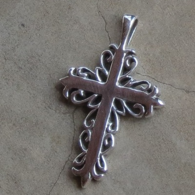 Silver Dainty Cross With Detailed Sides