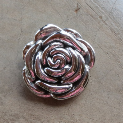Sterling Silver Fat Rose Pendant