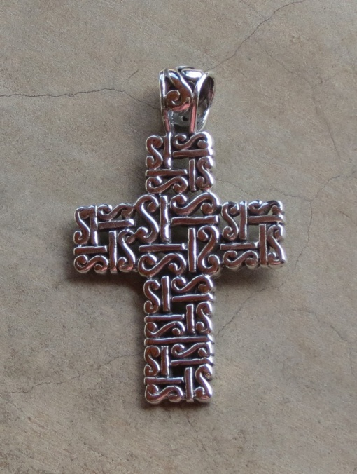 Sterling Silver Ethnic Detailed Cross