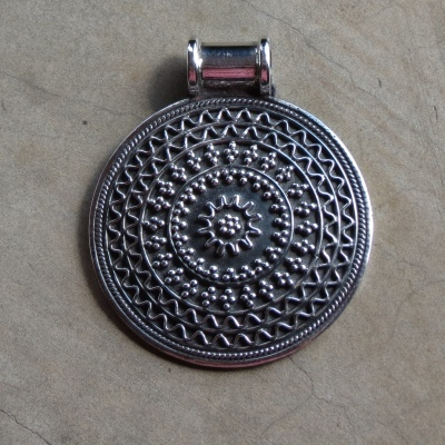 Sterling Silver Ethnic Disc Pendant