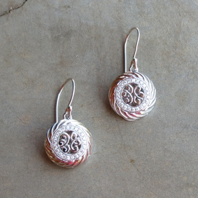 Silver Round Ornate Drop Earrings