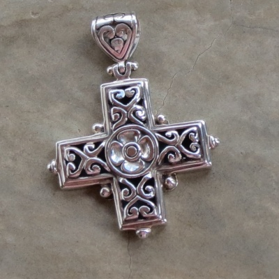 Sterling Silver Cross Pendant from Bali