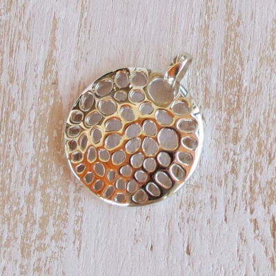 Silver Round Holey Disc Pendant