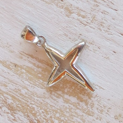 Silver Star-like Cross Pendant