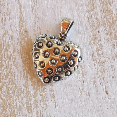 Silver Heart Pendant With Dots