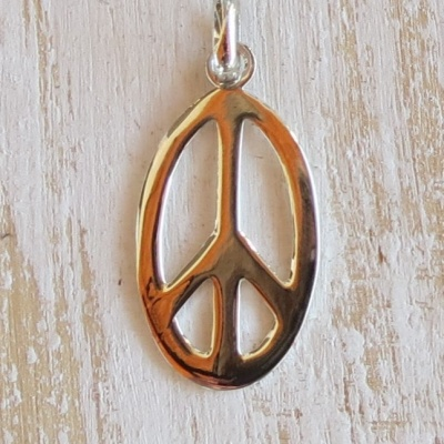 Silver Oval Peace Sign Pendant