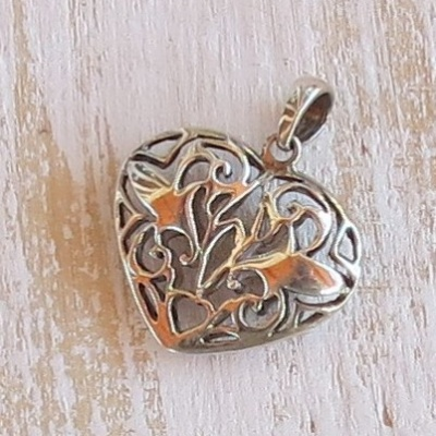 Sterling Silver Detailed Heart Pendant