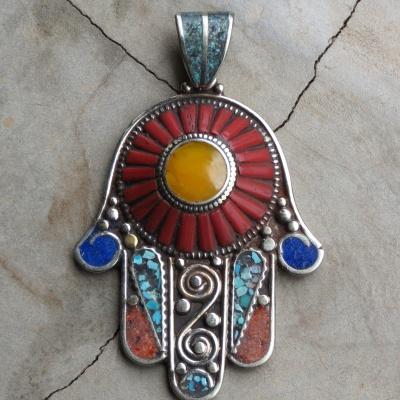 Multi coloured gemstone Hamsa hand x 2 R490 PEG014(5x6,5cm)Large