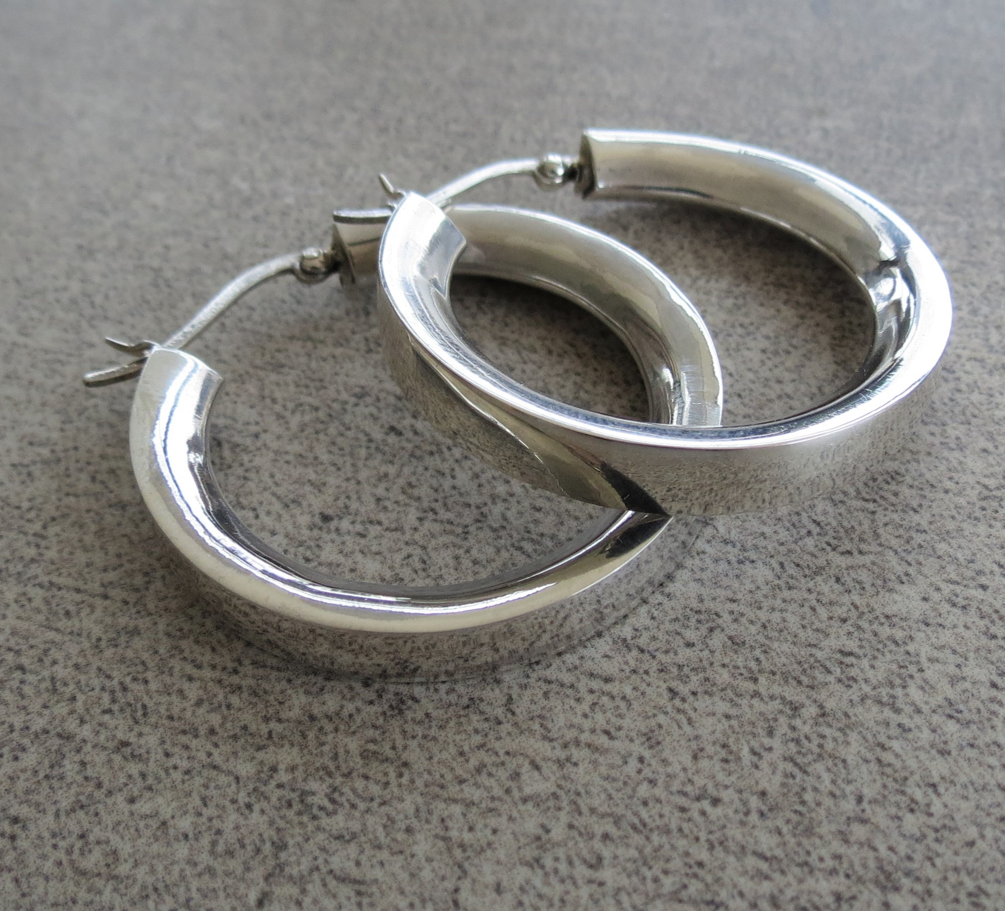 Sterling Silver Hoop Earrings With A Thick Flat Edge