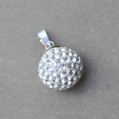 Sterling silver and crystal ball pendant